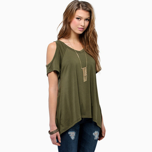 V-neck strapless short-sleeved fishtail irregular T-shirt