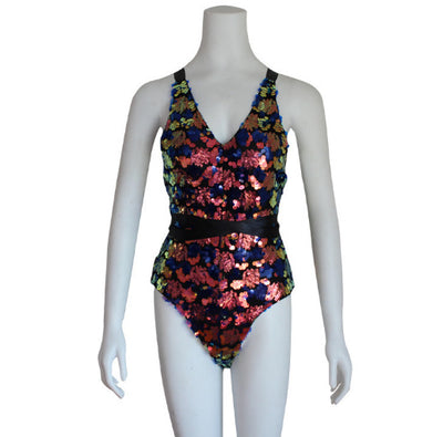 Flower color discoloration AB surface sequins Europe and America sexy lace one-piece swimsuit