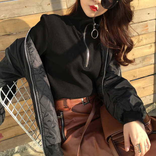 Spring Autumn Women Tops Fashion Causal Ladies Office Circle Full Sleeve Zipper Knit Pullovers Blouses Women's Clothing