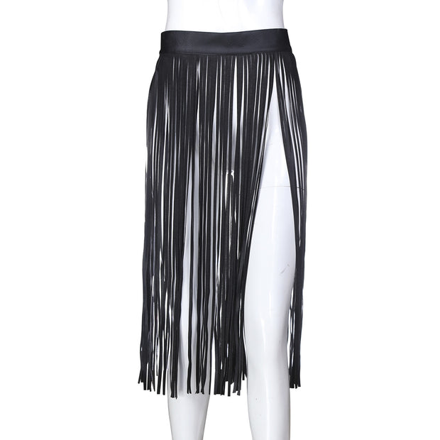 Alternative Bondage Tassel Leather Skirts