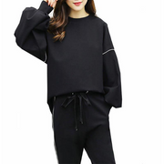 Loose Sweatshirt and Elastic Waist Pants Suit