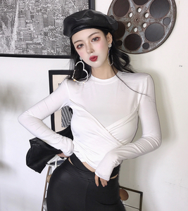 2018 autumn and winter new women's cross-style round neck lazy wind long-sleeved T-shirt bottoming shirt women