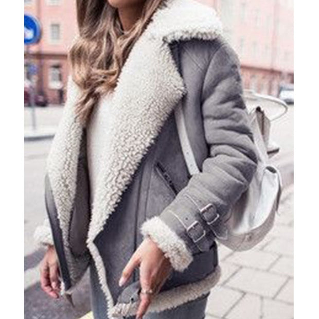 Women  Lambswool Fleece Loose Warm Coat