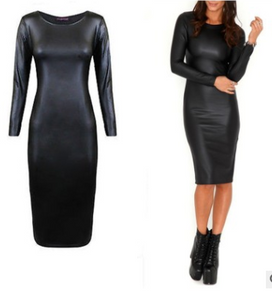 European and American nightclub dress faux leather long sleeve round neck to knee bag hip tight pencil skirt