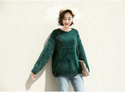 Autumn and winter new chenille velvet sweater female Korean version of lazy loose thin outside wearing hooded sweater women