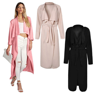 Aliexpress ebay and amazon wish new fall/winter lapel side pockets, long sleeves, plus-size women's trench belts