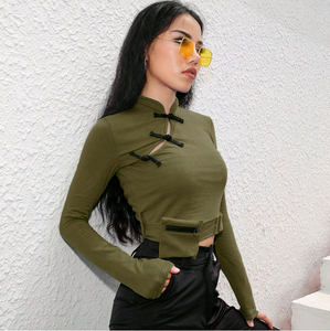 2018 autumn and winter new T-shirt Chinese wind plate buckle tight-fitting long-sleeved bottoming shirt women's clothing
