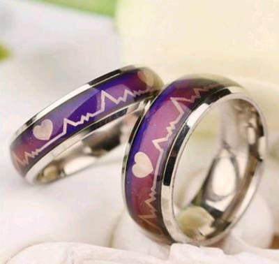 Titanium steel couple ECG ring men and women on the ring heart emotional warm color stainless steel ring