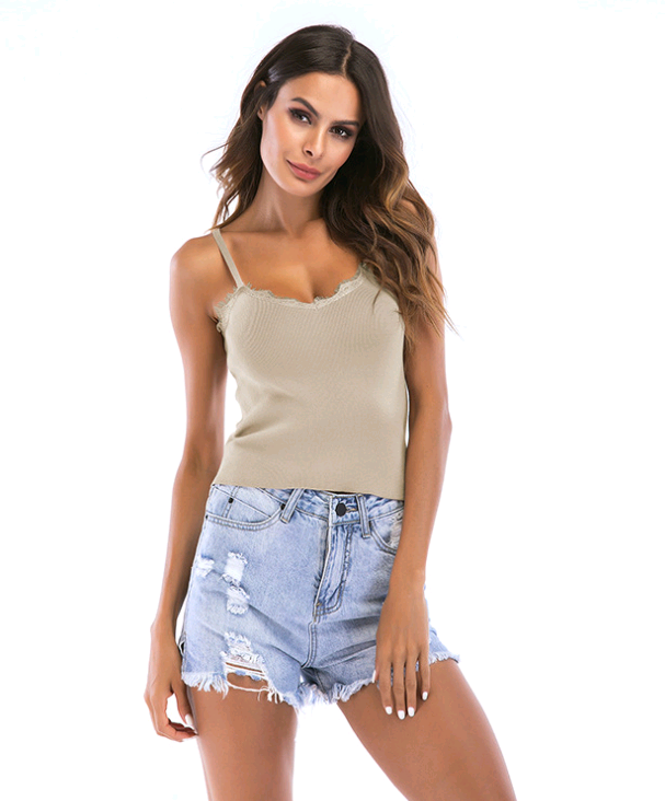 V-neck Slim Sleeveless Knit Vest Lace Tops