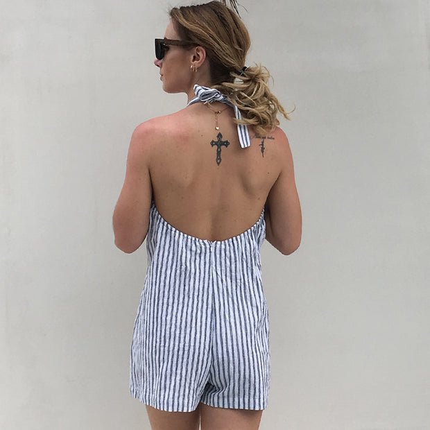 USA SIZE European and American style vertical stripes sleeveless hanging neck beach holiday ones shorts