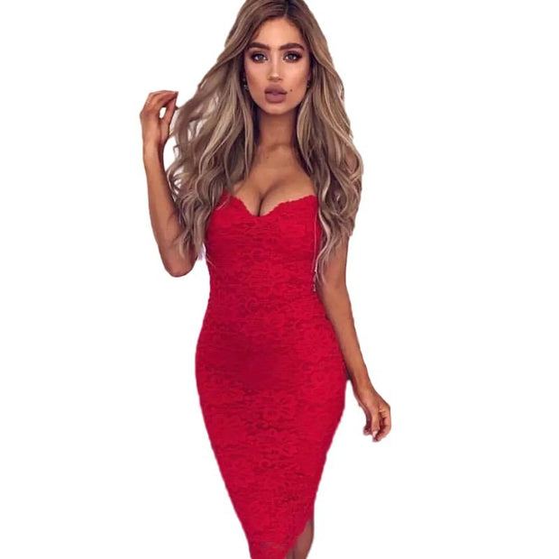 """LAUREN"" Sexy Floral Lace Pencil Bodycon Dress"