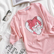 Cute cartoon girl print summer pink slim wild round neck short-sleeved T-shirt