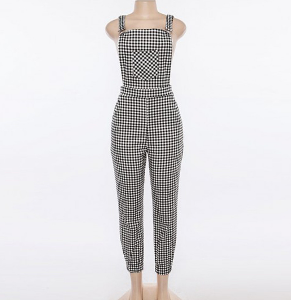 Plaid jumpsuit jumpsuit black pants