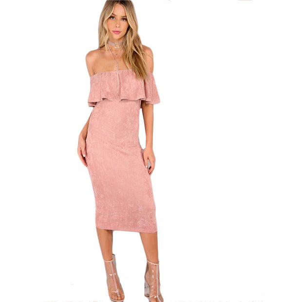 Women Party dresses Elegant Evening Sexy Club Dresses Backless Midi Pink Faux Suede Off The Shoulder Ruffle Dress