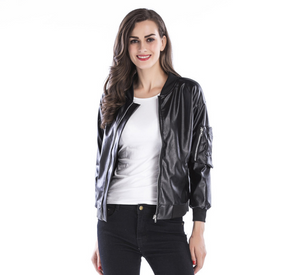 Amazon hot sale pu 2019 autumn Europe and the United States trend zipper leather jacket stand collar black jacket leather women