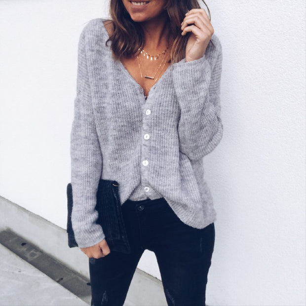 V-neck Button Up Long sleeve Thin Sweater