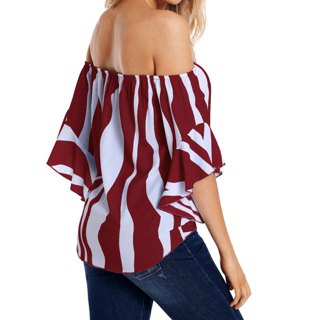 New European and American women's summer shirt tube top collar shirt five points trumpet sleeves striped shirt 251051