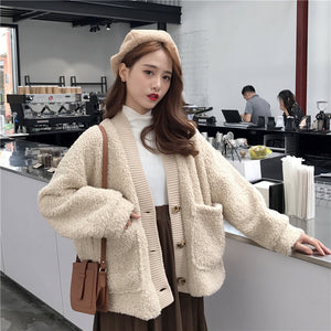 Loose thick double-layer imitation lamb hair cardigan jacket
