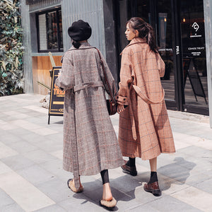 K-pop Fashion Knee Length Plaid Woolen Coat