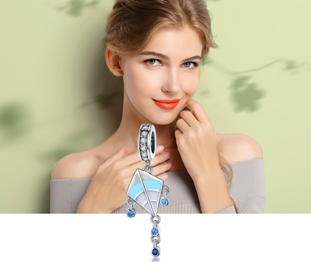 Cross-border e-commerce kite memories 925 sterling silver pendant fashion diy necklace beaded bracelet jewelry accessories SCC937