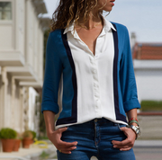 Long Sleeve V-collar Chiffon Stitching Shirt