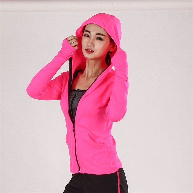 Ziper Breathable Slim Yoga Hoodie Jacket