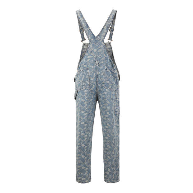 Trends in Europe and America Cashew flower jacquard pattern Unisex Retro hip hop denim overalls