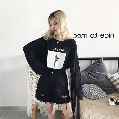 Long-sleeved loose O-neck Blouse