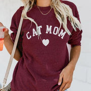 Cat Mom Letter Printed Long Sleeve Sweater