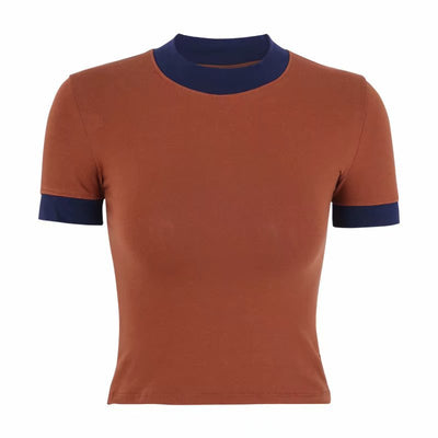 Splicing half-high collar tight-fitting slim bottoming shirt was thin short-sleeved T-shirt