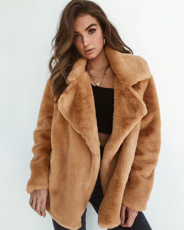 Oriana Fluffy Faux Fur Lapel Jackets