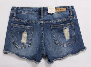 Women Ripped Frayed Hem Denim Shorts