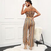 Striped sling deep V belt flared jumpsuit