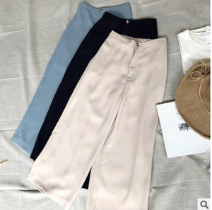 Casual Elastic Waist Loose Straight Leg Pants