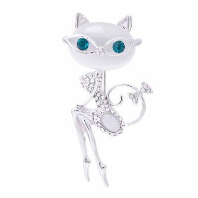 Cat opal brooch, high-end Korean crystal collar, cat girl, personalized clothing