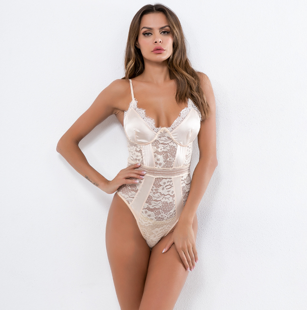 Women's one-piece tops lace forging face stitching sexy lingerie suspenders