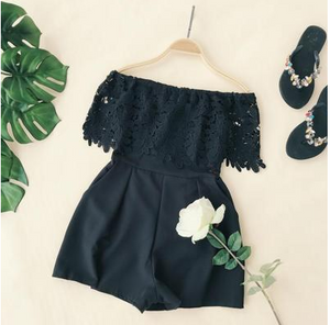 Open Neck Lace Stitching Wide Leg Romper
