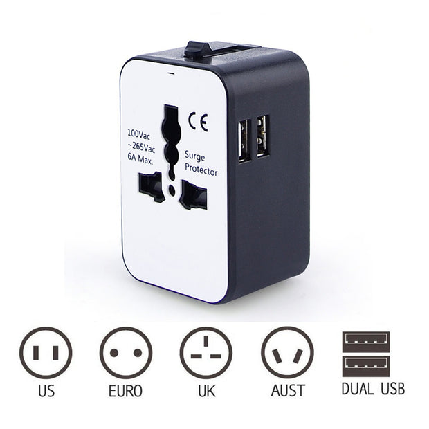 Multi-Outlet Power Plug Travel Universal Travel Converting Power Strip With 2USB Plug Adapter Adapter AU UK US EU