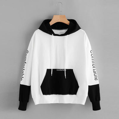 Black and white contrast color pocket sleeve letter print hooded long sleeve pullover sweater