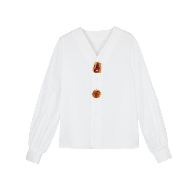 Simple design style decorative buckle white shirt