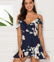Sling strapless ruffled waist irregular dress beach skirt