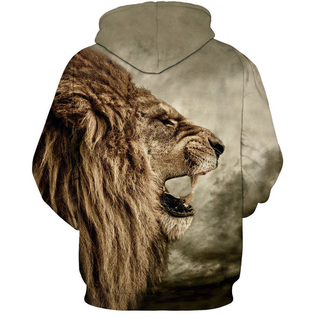 Europe and the United States hot nostalgic lion 3D digital printing hooded sweater couple
