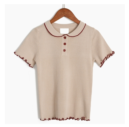 Doll collar short-sleeved knitted top