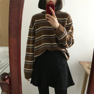 Women's round neck sweater female chic pullover striped knit sweater loose lazy student wear