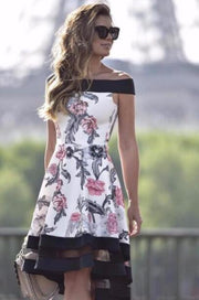 Women Floral Off-shoulder Shift Midi Dress
