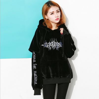 Gothic Sweatshirt Black Hoodies Women High Street Harajuku Loose Casual Hoodie Embroidery Girls Fashion Hoodies Gothic