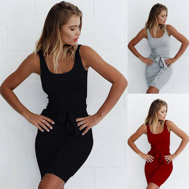 European and American fashion straps high waist tight sleeveless vest dress