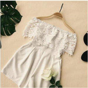 One-neck collar off-the-shoulder water-soluble lace stitching high-waist wide-leg jumpsuit