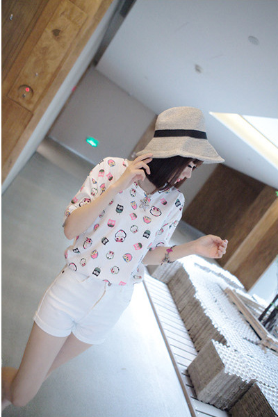 Loose short-sleeved women's t-shirt cartoon print top