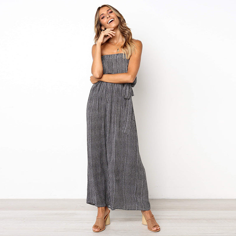 New Horizon Off Shoulder Wide Leg Jumpsuit